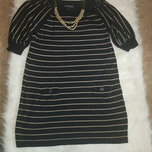 Navy blue and beige stripped dress w/ necklace